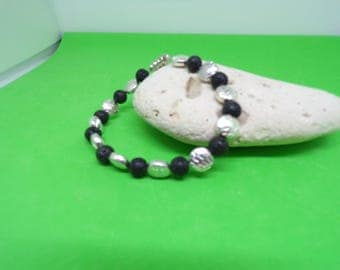 Lava stone and silver bracelet
