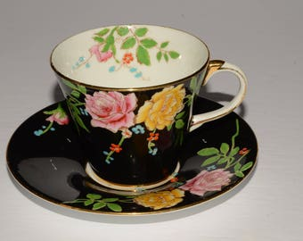 RARE, AYNSLEY, Vintage, Handpainted floral on Black, Art deco, Aynsley, Teacup and Saucer, Vintage Teacup, Bone China, Gold Rimmed, England
