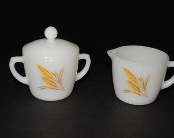 FIRE KING, Creamer and Covered sugar bowl, Golden Wheat, Milk Glass, Sugar bowl with lid, Gold harvest wheat, Vintage Fire King, 3pc, 1960s