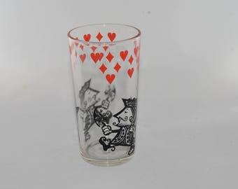 Vintage, 1950s, black & red, poker playing cards, spade king, glass, midcentury, tumbler, high ball, diamond, spade, heart, retro glass