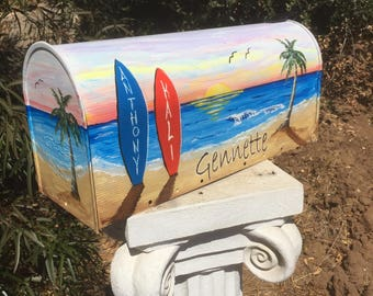 Beach theme wedding card box mailbox Custom order beach Surfboards sunset custom ordered your color your style your desires your information