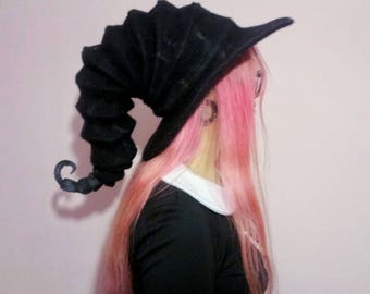 Witch hat wizard hat, . felt hat black, felted hat from wool Halloween costume witch costume larp hat cosplay CUSTOM MADE, wool hat,cosplay