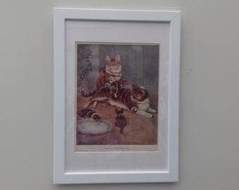 Genuine Framed original 30's children's print of tabby cats and kittens by G.D Rowlandson. Framed and mounted.