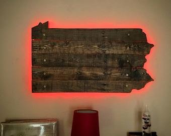 Pennsylvania State Wall Art - Repurposed Rustic Pallets & LED Lights