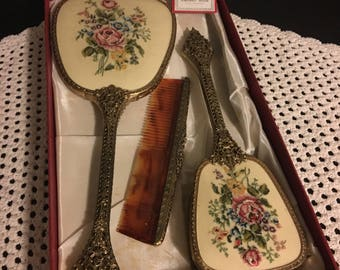 Vintage REGENT Of LONDON Dresser/Vanity Set Hairbrush, Hand Mirror & Comb Embroidered in Original Box with Tags