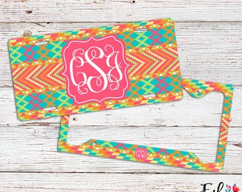 Monogrammed Tribal License Plate/Frame