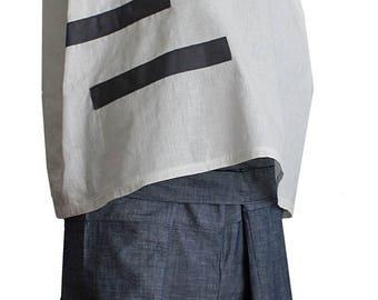 summer linen shift dress shirt with grey cotton band