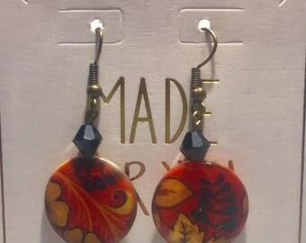 Red/Orange Floral Earrings