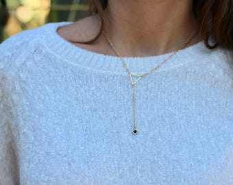 Triangle Y necklace with a star drop, Lariat necklace
