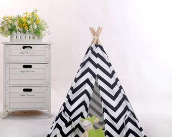 Black chevron pet teepee with mat,mini teepee,dolls teepee,little teepee,tiny teepee