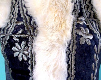 Suede Leather Fur Silver Embroidered Nordic Style Vest Sheep Skin Wool Lining Size Small to Medium
