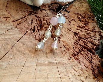 Unique - Boucles d'oreilles en quartzite pastels et en cuivre plaqué argent et boucles en argent 925. Par