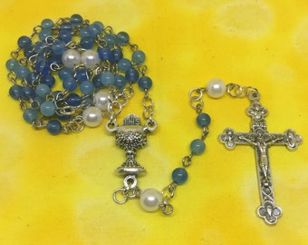Blessed Sacrament Rosary | Blue and White Beads | First Communion | 5 Decade Rosary