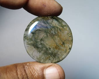 Natural Moss agate loose gemstone, Moss agate gemstone, Natural Moss agate cabochon gemstone, Moss agate loose stone [32x32]34 Cts. #518