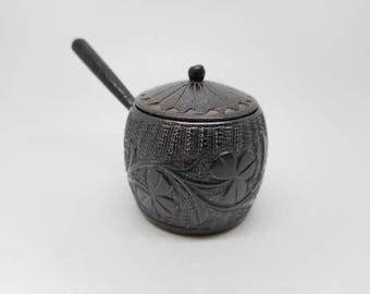 An Irish bog oak mini saucepan and lid. c 1890