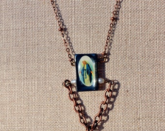 Copper Quartz Crystal Beaded Religious Virgin Mary Saint Necklace Version 2