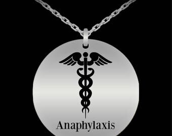 Medical alert necklace, Anaphylaxis necklace, Engraved medical necklace, Medic alert, Medic alert necklace, Medic charm, Medical charm
