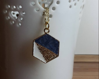 Hexagon pendant with midnight blue and white colour detail / charm / jewellery