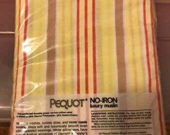 Vintage 1970s Pequot Yellow Red White Striped Twin Flat Sheet Muslin NEW