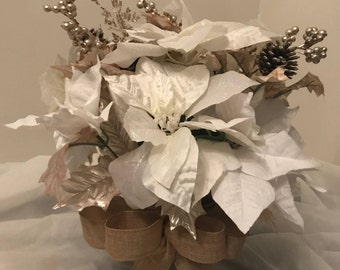 White and Beige Poinsettias w/Beige Bow