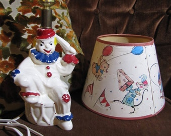 Vintage Shawnee Pottery Cold Paint Clown Lamp w Original Circus Shade circa 1950s Original Wiring Still Works GREAT!