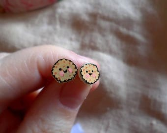 Cookie earrings, cute earrings, kawaii earrings, kawaii food, kawaii cookies, cookie jewelry, cute cookies, cute tiny earrings, cookie studs
