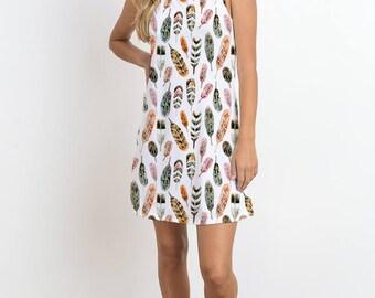 Tribal Feather Print Sleeveless Dress, Casual Dress, Mini Dress