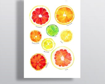 Citrus Art Print, Fruits Wall Art, Citrus Poster, Citrus Wall Art, Fruits Kitchen Art, Citrus Painting, Orange Poster, Watercolor Citrus