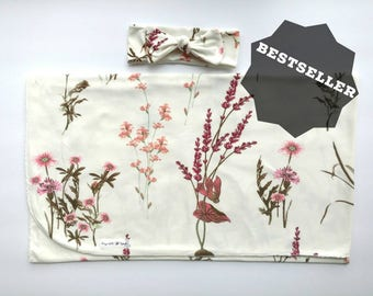 Baby swaddle set in wildflower floral/ swaddle set girl / baby stretchy swaddle /baby shower gift / newborn swaddle set/ floral swaddle set