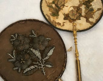 Two Antique Silk Face Screen Fans...For Restoration