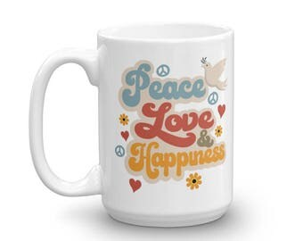 Cool Vintage Style Peace Love & Happiness Retro Mug