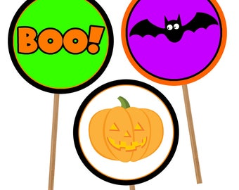 Halloween Cupcake Topper Set 1, Printable Halloween Cupcake Topper, Instant Download