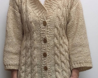 Hand knitted Sweater, Women Sweater, Knit Sweater, Women jacket, Knit women sweater, warm sweater, wool knitter sweater