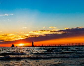 Grand Haven, Michigan, Lake Michigan Sunset Photograph Print 4x6, 4x4, 5x7, 8x8, 8x10, 12x12, 11x14, 5x15, 16x20, 20x30
