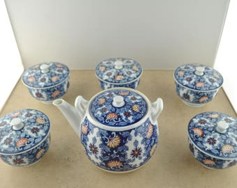 Vintage Chinese Tea Pot with 5 Bowls with Lids