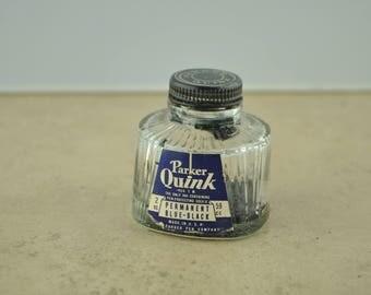 Parker Quink Permanent Blue-Black Glass Ink Bottle