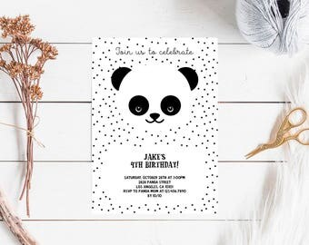 Panda Birthday Invitation, panda party printable invitation black and white, INSTANT DOWNLOAD editble pdf, girl boy party minimalist