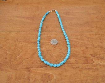 Sleeping Beauty Turquoise Nugget Necklace, 6mm Long Drilled Turquoise, 16 inches in length, w/ Sterling Silver, Arizona mined turquoise