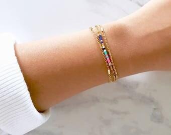 MultiColoured Bead Bracelet Gold bracelet Small Bead Bracelet Minimalist Bracelet Thin Bead Bracelet Chain Wrap bracelet Boho Bracelet