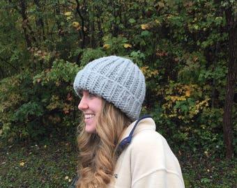Gray chunky winter hat