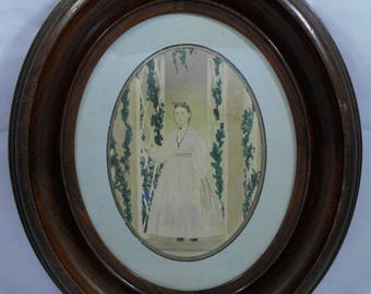 19th Century New England Folk Art Watercolor Portrait of a Lady