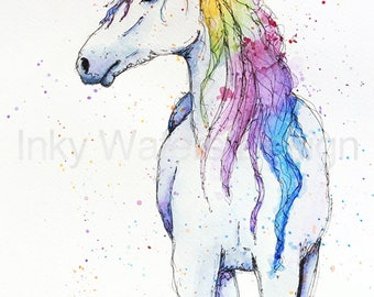 Original Unicorn Watercolour painting giclee Print archival inks