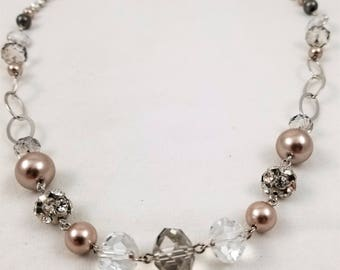 "34"" Crystal and Faux Pearl Necklace"