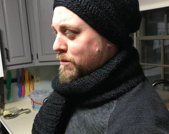 Men's XL Alpaca Crocheted Hat and Scarf Pair