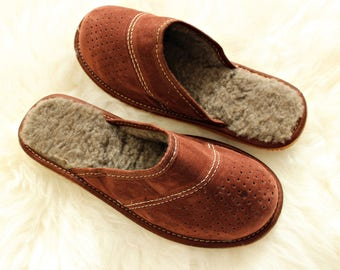 Men fur slippers soled boots suede leather slippers man sheepskin slippers wool shoes brown indoor boots christmas boyfriend father gift