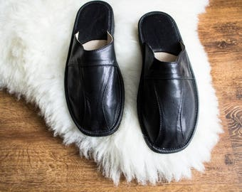 GENUINE LEATHER slippers, Men slippers, Men's moccasins, Christmas gift for men boyfriend Black slippers, Home shoes Natural LEATHER