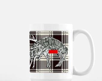 15oz Coffee Mug, Large Coffee Cup,Deer, Office Gift, Xmas Gift, Hot drinks & laughs keep you warm this winter.Great Xmas Gift or Office Fun.