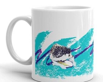 Hedgehog Surfin' Solo Adorable Art Mug of Happiness - Cute Funny Hedgehog Mug by Urchin Wear