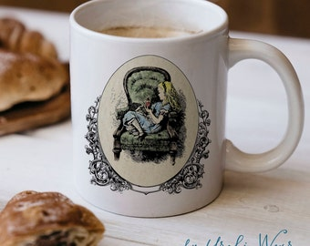 Hedgehog in Wonderland Mug | Cute Victorian Alice and Hedgehog Flamingo Croquet | Hedgehog Gift | Coffee Mug by Urchin Wear