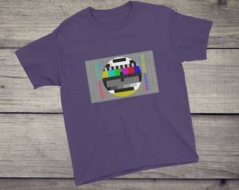 TV Test pattern T-Shirt | Sheldon Cooper tshirt | test card T-Shirt | kids children boys girls Short-Sleeve T-Shirt for nerds geeks | televi